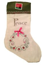 "Faux Jute Christmas Stocking ""Peace"" Green & White With Embroidery NEW"
