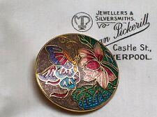 Joyas Vintage Hermosa Cloisonne Esmalte Mariposa Flor Broche Pin Chal
