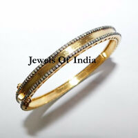 Fine Handmade Natural Rose Cut Diamond Gold & Sterling Silver Bangle Bracelet