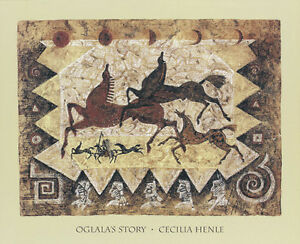 Ogalalas Story Art Print by Cecilia Henle - Native American Horses Sioux Tribal