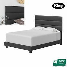 Platform Upholstered Gray Bed Frame Headboard Faux Leather King Queen Full Twin