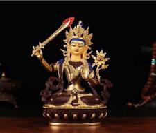 "8"" Asian Antique Tibetan copper gilt hand painting Manjusri Bodhisattva statue"