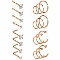 20PC Stainless Steel L-Shaped Nose Hoop Ring Stud Cartilage Tragus Ear Piercing