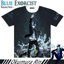Anime Ao no Exorcist Okumura Rin Full Colour  Short Sleeve Tops Cosplay T-shirt