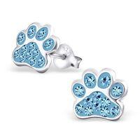 Sterling Silver 925 Dog / Cat Paw Crystal Stud Earrings - Light Blue