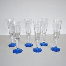 Set 6 bicchieri flute LE GOCCE Vetro Blu e trasparente Nuovi s. confezione  P226
