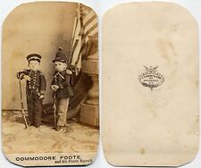 COMMODORE FOOTE AND HIS DUTCH RECRUIT GURNEY   SON BROADWAY NY TRIMMED CDV