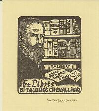 EX-LIBRIS JACQUES CHEVALLIER GRAVÉ SUR BOIS PAR JOCELYN MERCIER (1926-2006)
