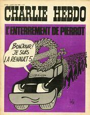 """""""CHARLIE HEBDO N°68 du 6/3/1972"""" Gébé : L'ENTERREMENT DE PIERROT (RENAULT 5)"""