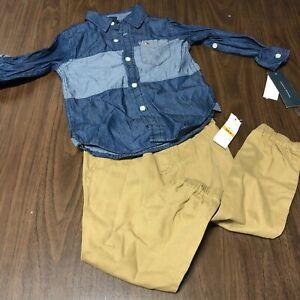 Tommy hilfiger boys 3t toddler kids outfit set jean top khaki bottoms 3