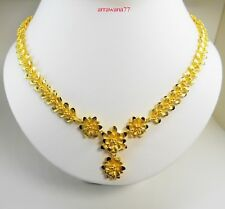 Flower 22K 24K Thai Baht Yellow Gold Women Girl Necklace Pendant Choker Snake 3