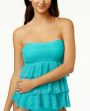Island Escape Size 8 Solid Turquoise Blue Crochet Tankini Swimsuit TOP NWT