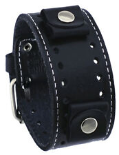 Nemesis STH-K Black White Stitching Wide Leather Cuff Watch Wrist Band