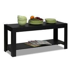 Furinno Parsons Entertainment Center TV Stand/Coffee Table, Black 12125BK NEW