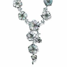 """PalmBeach Jewelry Black Freshwater Mother-Of-Pearl Silvertone """"Y"""" Necklace 18"""""""