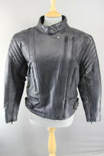 CLASSIC AKITO BLACK LEATHER BIKER JACKET WITH REMOVABLE CE ARMOUR: SIZE 12