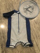 Hanna Andersson Zip Up Swim Suit And Swim Hat Size 75 And Xs 12-18 Months