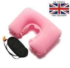 3 in 1 Travel Use Set Inflatable Neck Air Cushion U Pillow Eye Cover 2 Ear Plugs