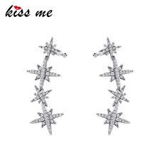 925 Silver Post Brass Star Stud Earrings Clip-on Ear Wrap Cuff Earrings me0030