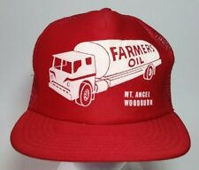Vtg Farmers Oil Trucker Hat Snapback Cap Mesh Panels Foam Front Mt Angel