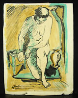 Signed? Beautiful Sketch Of Naked Woman Drawing Original 1949 Nude Draw
