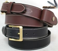 Stockman's Knife Belt Genuine Leather with Knife pouch. BLK or BRN. 41014