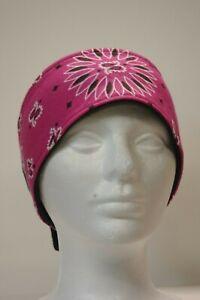 #015 Pink Paisley Fleece lined adjustable headband