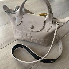 BNWT - Longchamp Le Pliage Cuir Mini - Chalk - Leather Logo Tote Bag RRP £250