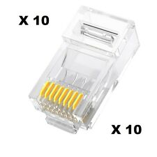DITM® Lot 10 x Connecteurs RJ45 Solid UTP CAT5 Mâle PVC Transparent