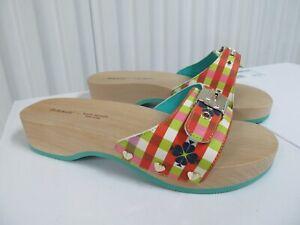 Dr Scholls x Kate Spade New York Bella Plaid Sandal Slide Wood Fiji Green Red 6