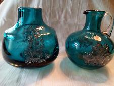 Glaskrug Cristallerie Zwiesel - Krug plus Glasvase im Set - blau