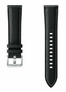Original Samsung Galaxy Watch 3 41mm Stitch Leather Band 20mm Strap  - Black
