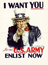 ADVERT UNCLE SAM RECRUITMENT US ARMY I WANT YOU ART POSTER PRINT LV7068