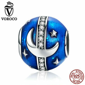 VOROCO 925 Sterling Silver Bright Galaxy Charm beads with Blue Enamel And AAA CZ