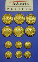 12 TALBOTS 2PART GOLD TONE METAL REPLACEMENT BUTTONS BY WATERBURY GOOD CONDITION