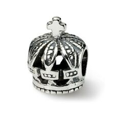 Cross & Crown Bead .925 Sterling Silver Antique Finish Reflection Beads