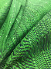 Lime Green Black Striped 100% Silk Dupioni Corduroy Fabric Kimono Dress Shirt