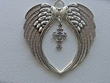 SILVER ANGEL WINGS with CROSS CAR CHARM REAR VIEW MIRROR CHARM ORNAMENT MOBILE