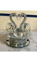 Crushed Crystals Swan  Romany Bling Mirrored Home Decor