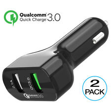 [2 Packs] Car Charger Quick Charge 3.0 + 2.1A Port 28W Dual USB Charging [Black]