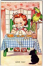 Tucks Good Egg! Girl with Egg Cup Parrot Cat By Dinah c1944 Vintage Postcard S24