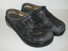 Alegria Women's Nursing Clogs Kay 241 Black/Silver Textured Leather size 7, 37