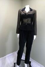 BETSY LAUREN Women's Vintage Black & Green Suede Pant Suit~Size 10P