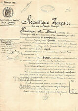 1898 Antique French Document w/ Ink Stamps Nice Handwriting Republique Francaise