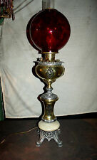 TALL ANTIQUE MILLER BANQUET OIL LAMP W/ RED GLASS COIN DOT GLOBE (ELECTRIFIED)