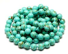 "VINTAGE NATURAL TURQUOISE BEADED (8mm) KNOTTED NECKLACE 42"" KAZAKH TURQUOISE 1"
