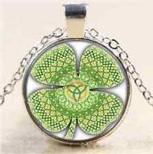 Celtic Four Leaf Photo Cabochon Glass Tibet Silver Chain Pendant Necklace
