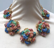 Butler and Wilson Multi Crystal Five Rose Flower Necklace NEW