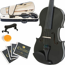MENDINI FULL SIZE 4/4 STUDENT VIOLIN METALLIC BLACK +TUNER+SHOULDERREST+BOW+CASE