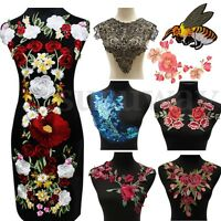Lace Rose Flower Patch Motif Collar Sew Applique Badge Embroidered Clothes